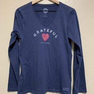 Life Is Good Navy Grateful Crusher Tee Long Sleeve